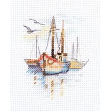 Набор для вышивания крестом Алиса Лодки на рассвете (0-196)