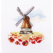 Набор для вышивания крестом Алиса Мельница в маковом поле (0-197)