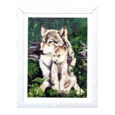 Набор для вышивания крестиком Дантель Волки-под защитой матери (002)