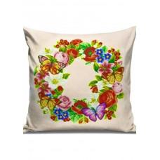 Набор для вышивания крестиком Дантель Подушка Цветы-бабочки (бежевая) (005 П/Б)