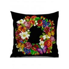 Набор для вышивания крестиком Дантель Подушка Цветы-бабочки (черная) (005 П/Ч)