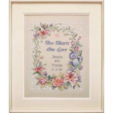 Набор для вышивания крестом Dimensions Свадебная метрика Два сердца (03122)