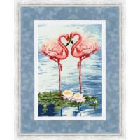 Набор для вышивания крестиком Золотое руно Свидание фламинго (З-051)