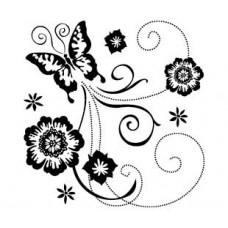 Штамп Бабочка и цветы - Butterfly scroll (98874)