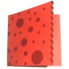 Заготовка для открытки, Красная с блестящими кругами, квадратная (CM-029-00005/449124) (3)