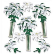 Наклейки блестящие Белые лилии  (SPJB225)
