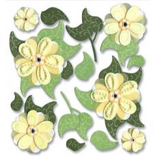 Наклейки с камешками Жёлтые цветы (SPJB229)