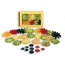 Шелковые цветы Daisy Box Blend Small - Red/Yellow/Dk.Blue/Green (1241-223)