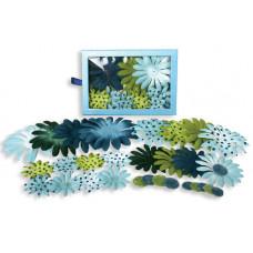 Шелковые цветы Daisy Box Blend Large - Lt.Blue/Dk.Blue/Green/Chart  (1240-221)