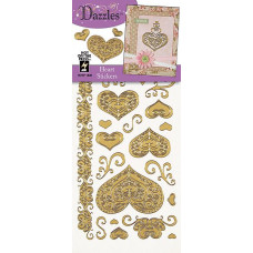 Наклейки блестящие Dazzles Сердца, золото (1836)