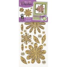 Наклейки блестящие Dazzles Цветы, золото (1834)