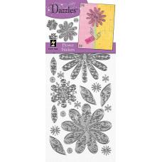 Наклейки блестящие Dazzles Цветы, серебро (1846)