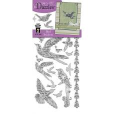 Наклейки блестящие Dazzles Птички, серебро (1852)