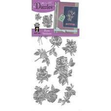 Наклейки блестящие Dazzles Розы, серебро (1853)