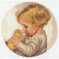 Набор для вышивания крестом Panna Мальчик с утенком (ДТ-1405)