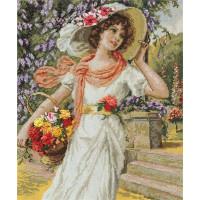 Набор для вышивания крестом Panna Девушка с корзиной цветов (ВХ-1480)