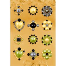 Наклейки из половинок жемчужин и стразов, Olive (530884)
