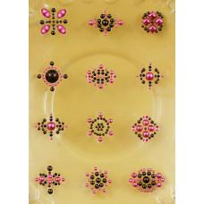 Наклейки из половинок жемчужин и стразов, Pink/Brown (530716)