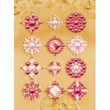 Наклейки из половинок жемчужин и стразов, Red/Pink (530860)