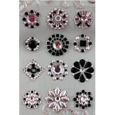 Наклейки из половинок жемчужин и стразов, Silver/Black (530914)