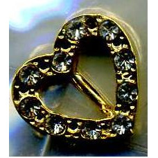 Пряжка Сердце, позолоченная с кристалликами (BB-00015)