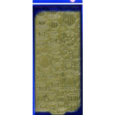 Наклейки блестящие Кофейный сервиз, золото (1197)