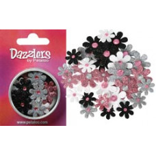 Бумажные цветы c глиттером Dazzlers Florettes Small Pink, Grey, White, Black (P1363-120)