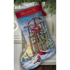 Набор для вышивания крестом Dimensions Рождественский сапожок Рождественские санки (8819)