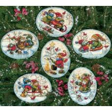 Медальоны Веселый снеговик (6 штук) (8828)