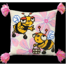 Набор для вышивания крестиком Чарівна мить Подушка Веселые пчелки (РТ-111)