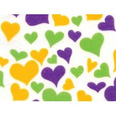 Фетр (войлок) листовой с узорами (зеленые, пурпурные, золотые сердца), 30 х 23 (PRT-01233)