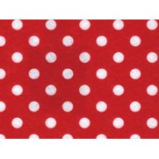 Фетр (войлок) листовой с узорами (белый горошек на красном), 30 х 23 (PRT-01242)