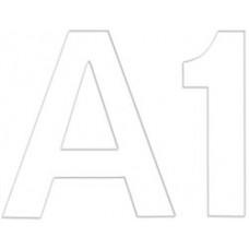 Комплект цифр и букв из фетра на самоклейке, белый (NL-0650)