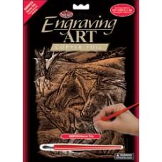 Набор для выцарапывания Copper Foil Engraving Art Kit, Трио лошадей (CPPRFOIL-23)