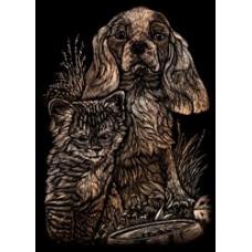 Набор для выцарапывания Mini Copper Foil Engraving Art Kit, Котенок и щенок (COPMIN-101)
