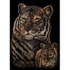 Набор для выцарапывания Mini Copper Foil Engraving Art Kit, Тигр и тигренок (COPMIN-102)