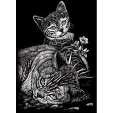 Набор для выцарапывания Mini Silver Foil Engraving Art Kit, Кошка с котенком (SILMIN-102)