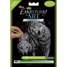 Набор для выцарапывания Mini Silver Foil Engraving Art Kit, Волки (SILMIN-104)