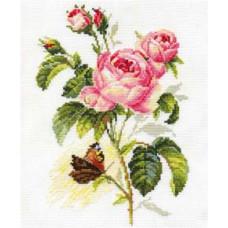 Набор для вышивания крестом Алиса Роза и бабочка (2-13)