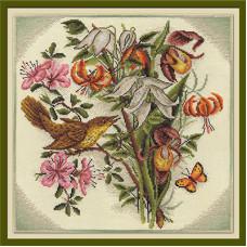 Букет цветов с птицей (ВХ-797)