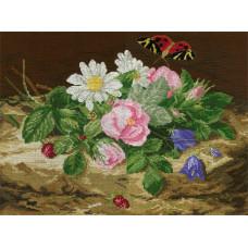 Букет цветов с бабочкой (Ц-420)