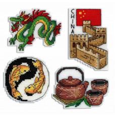 Набор для вышивания крестом М.П.Cтудия Китай. Магниты (Р-335)