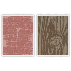 Папки для тиснения Sizzix Texture Fades Embossing Folders By Tim Holtz, Bricked & Woodgrain (656644)*