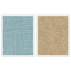 Папки для тиснения Sizzix Texture Fades Embossing Folders By Tim Holtz, Burlap & Swirls (656645)