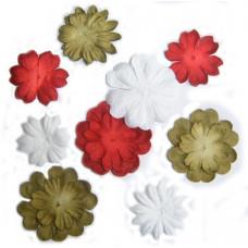 Бумажные цветы Mini Delphiniums - Red/Green/Gold/White (1300-501) - эконом-пакет