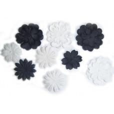 Бумажные цветы Mini Delphiniums - Black/White (1300-400) - эконом-пакет