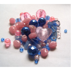 Набор бусин и бисера Dress It Up Beads, Cotton Candy Pink-Blue, 28 гр. (2537)