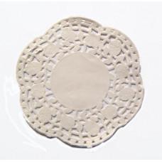 Бумажная ажурная салфетка с розочками, круг, 10 см (Y001)