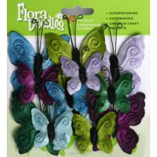 Бабочки из ткани Velvet Butterflies, Cool Tones (1276706)
