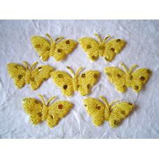 Аппликация Бабочка, жёлтый с блёстками (EM-00030)